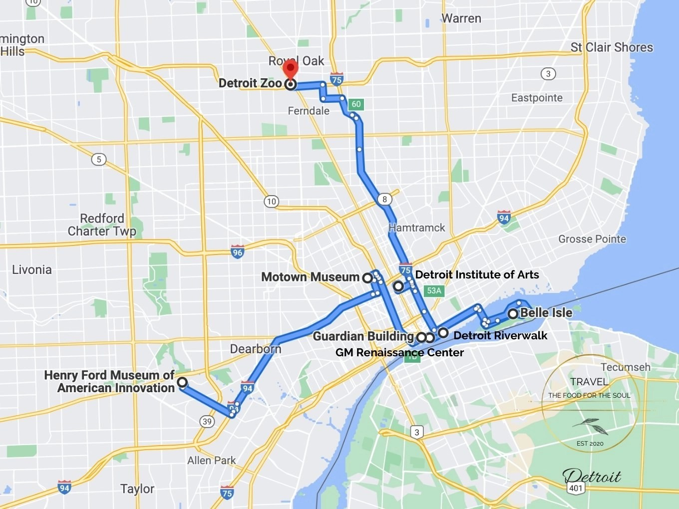 Detroit Attractions Map