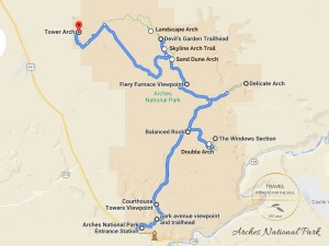 Arches National Park Attractions Map