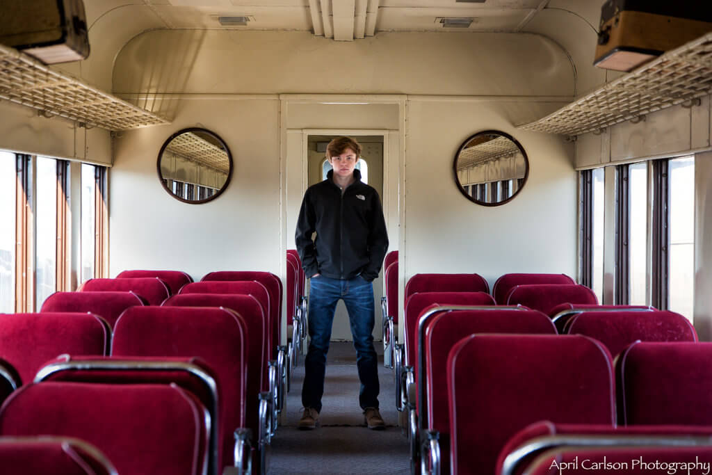 Touring Southeastern Railway Museum: Young Man Posing in Old Railway Car