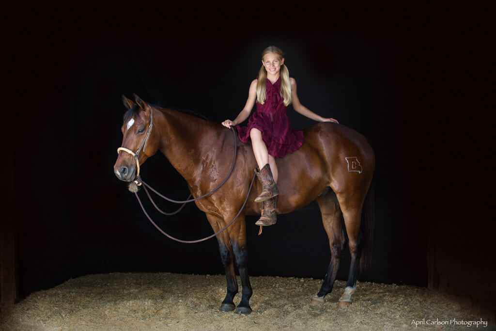 Horse Photography Workshop: Horse and Rider Pose in Dark Barn