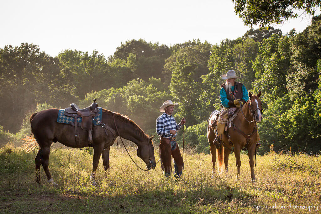 Horse Photography Workshop: Two Cowboys with their horses have a conversation