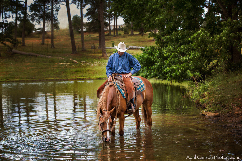 Horse Photography Workshop: Cowboy riding horse drinking in Pond