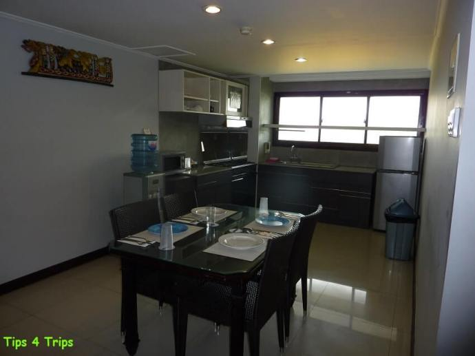 The kitchen and dining area in the two bedroom balcony suite at Sanur Paradise Plaza Suites