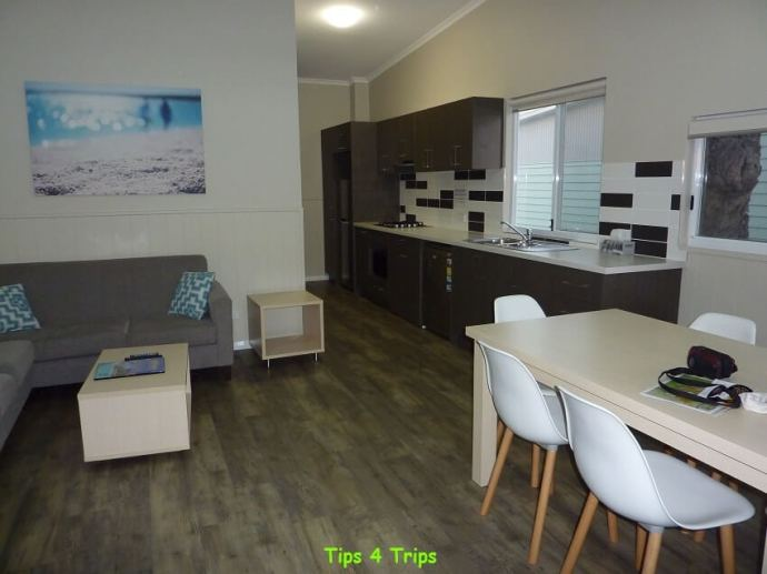 The living/dining room and kitchen of the two bedroom villa I am reviewing at the RAC Cervantes Holiday Park, Western Australia