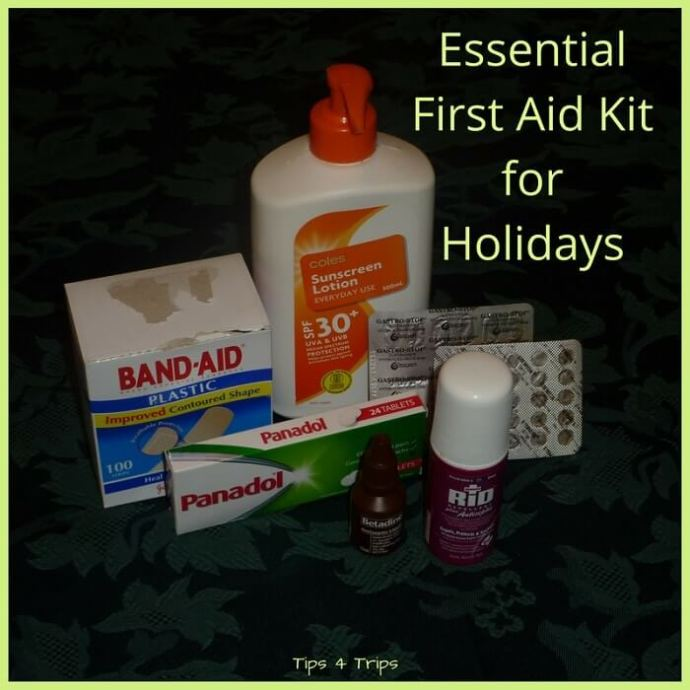 How to create a small essential first aid kit for holidays. When you next travel use this medical packing checklist to stay healthy on vacation.