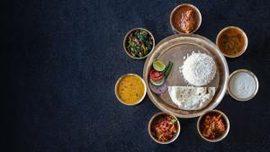 A beautifully served thali.