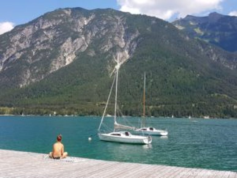 Sailboats on the Achensee in Tyrol, Austria.