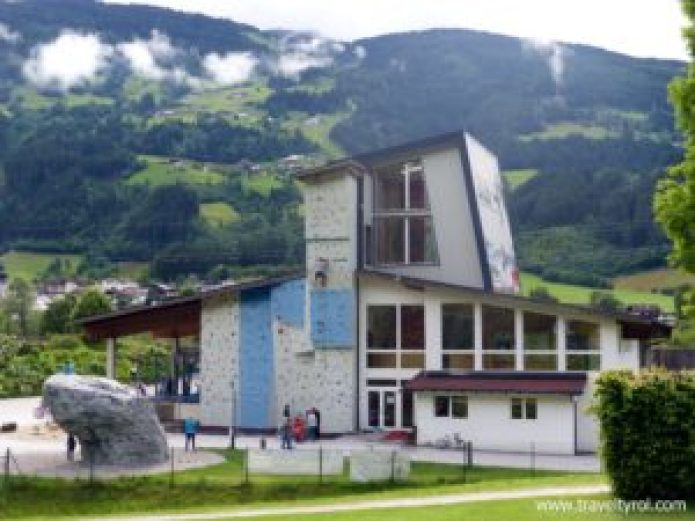 Climbing wall and hall at Camping Aufenfeld, Zillertal.