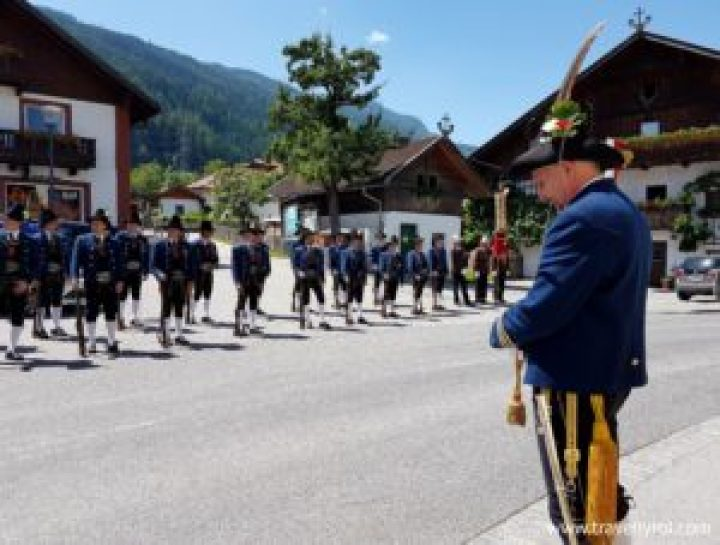 Marksmen at Fronleichnam procession in Tulfes.