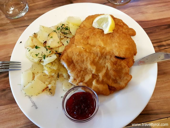 Schnitzel from the Sulzenauhütte in Austria.