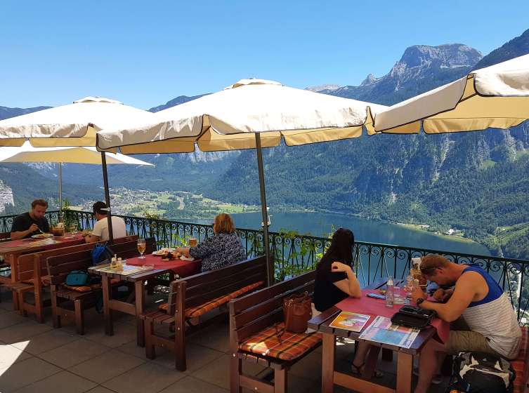 Luch view from Rudolfsturm Restaurant in Hallstatt.