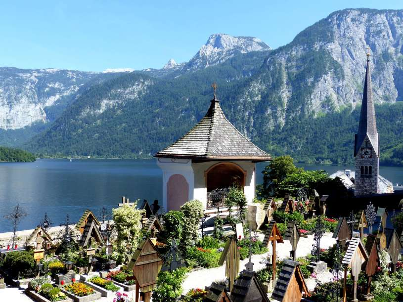 Hallstatt cemetery view in front of the bone house.