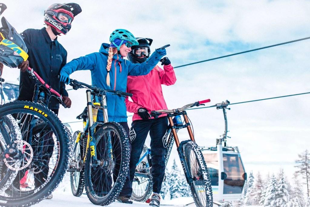 Fat- and snowbiking near the Muttereralmpark ski resort near Innsbruck.