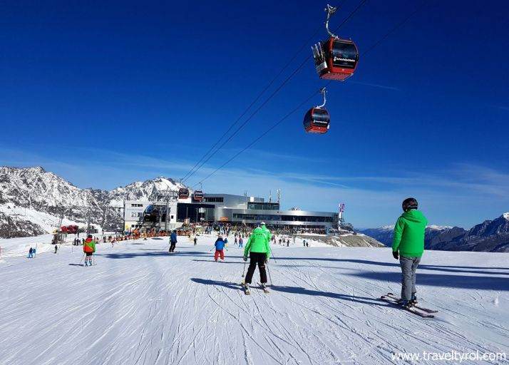 Skiing on the Stubai Glacier at Easter in Austria.