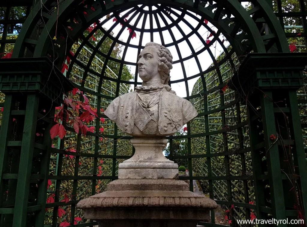 Bust of King Louis XIV at Linderhof Palace.