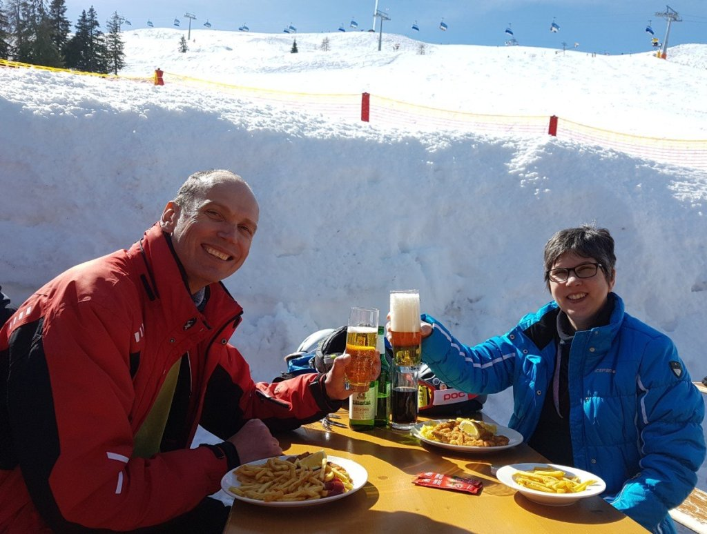 Schnitzel and beer is ski food in Alpbach.
