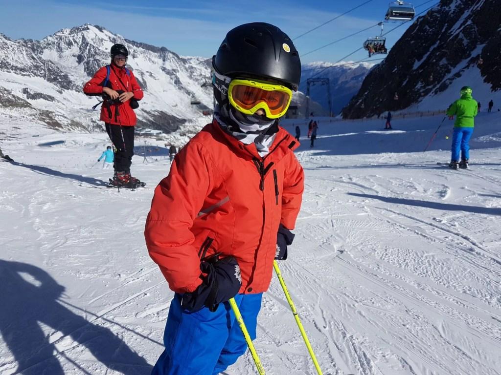 Skiing on the Stubai Glacier.