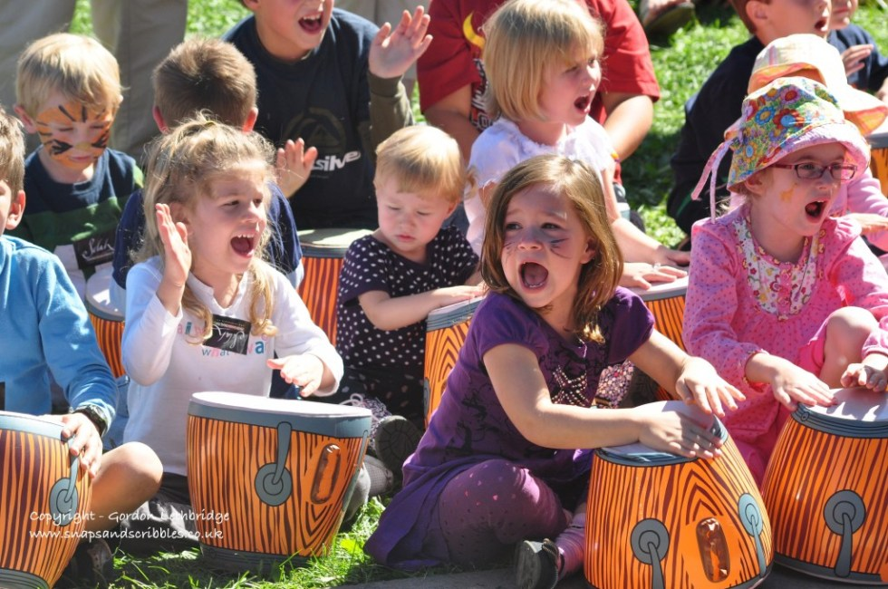 Children making music at Harvest Jazz and Blues Festival