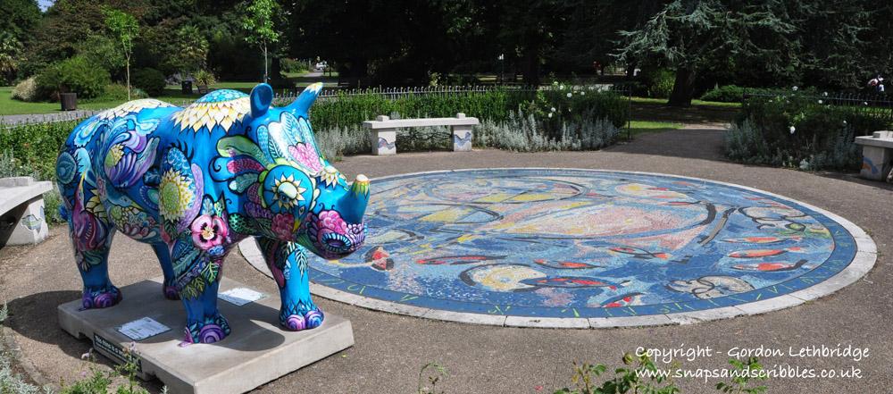 Rhino found in the mosaic garden