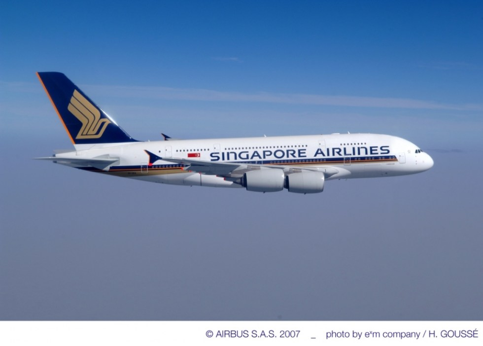 A Singapore Airlines A380 - the double-decker plane