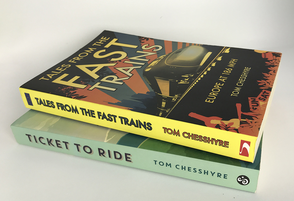 Two books by Tom Cheshyre on travel by train
