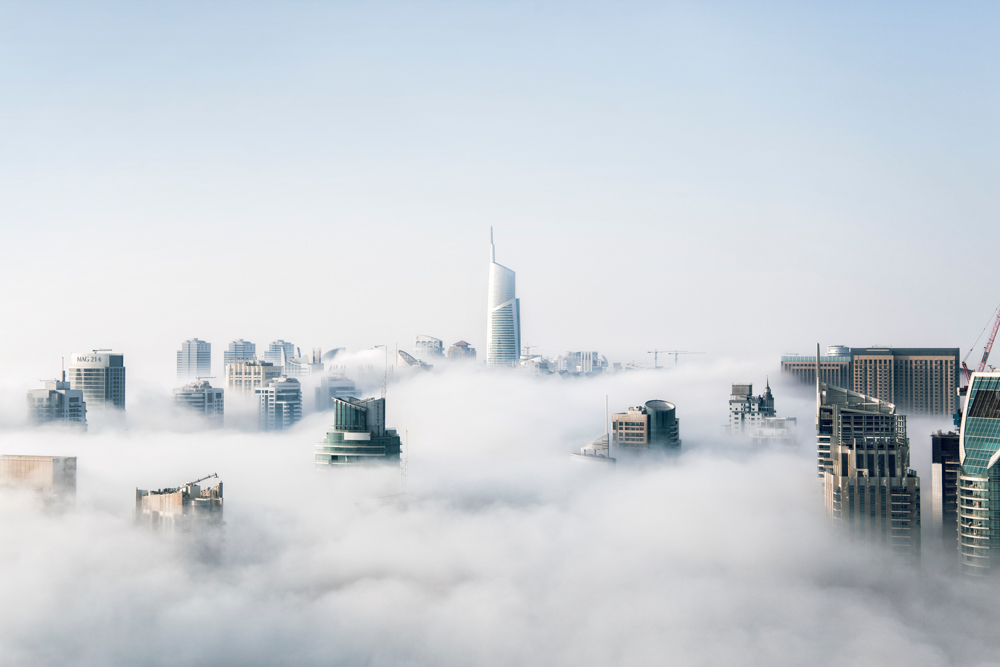 Skyscrapers above the clouds in Dubai