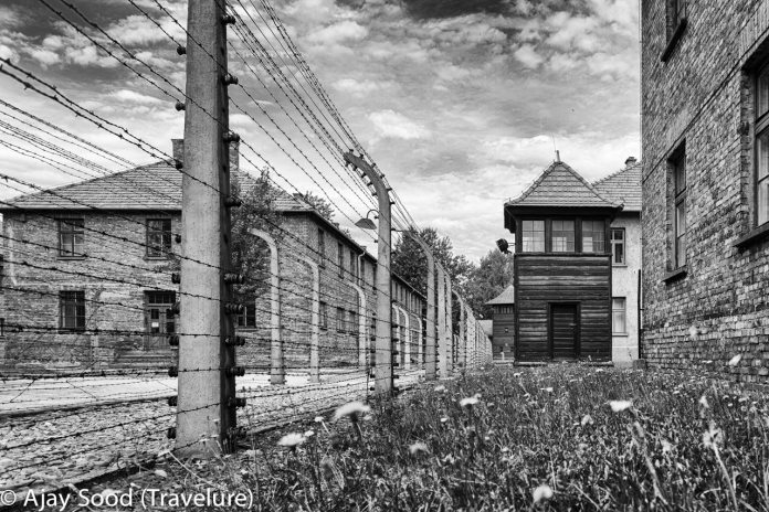Haunting Photographs of Auschwitz Memorial Camp Security Guard Cabin Barbed Wire Fence WW-II Holocaust