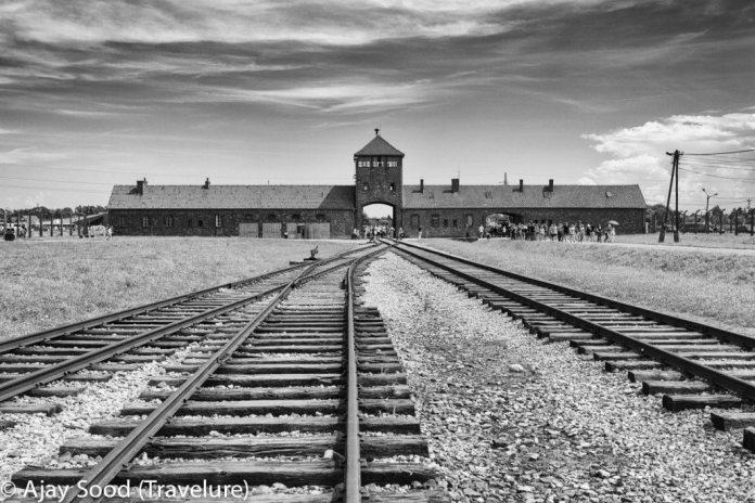 Haunting Photographs of Auschwitz Memorial Camp Birkenau Hell's Gate Gate of Death Railway Tracks Prisoners - WW-II Holocaust