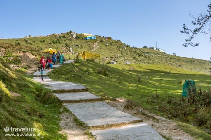 Our first glimpse of the temple after Bijli Mahadev Trek – Kullu Attraction