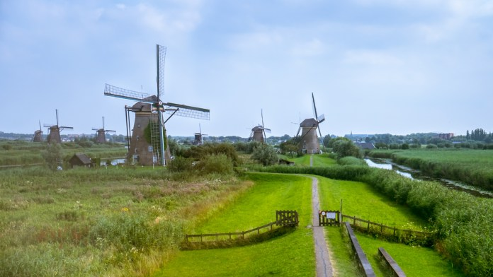 Windmills of Kinderdijk sprinkled across the landscape