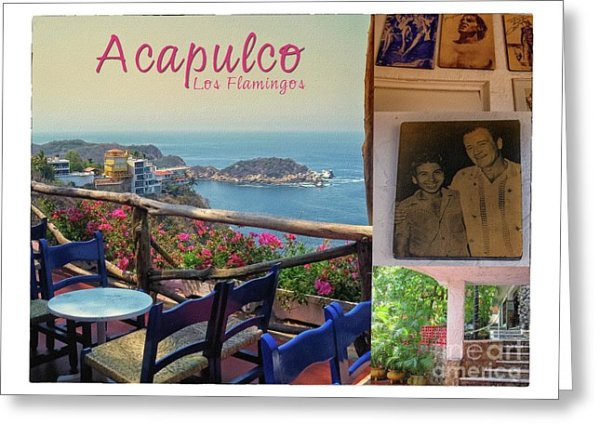 Acapulco Art Print featuring the photograph Acapulco Los Flamingos Vintage Postcard by Tatiana Travelways