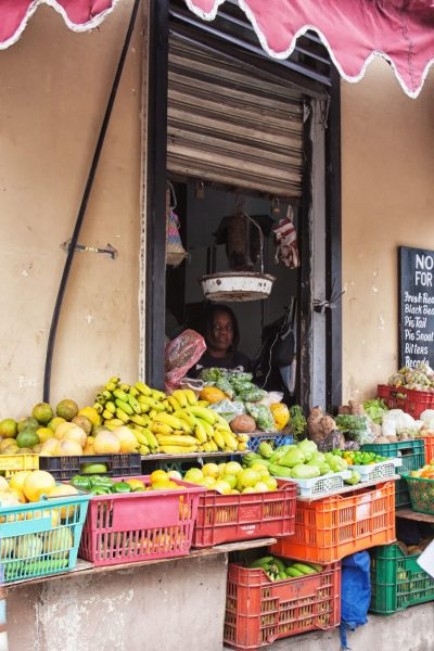 Fruit stand and vendor