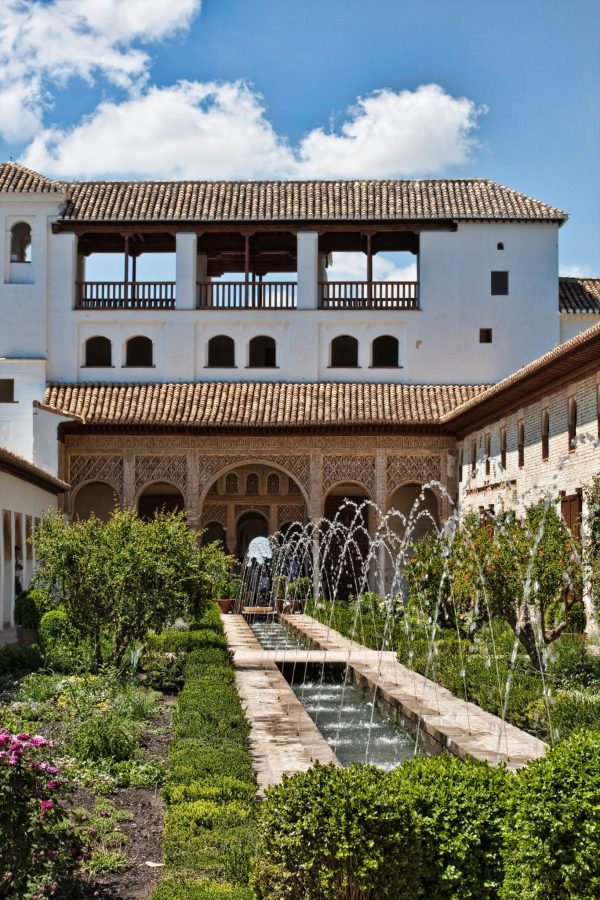 Alhambra gardens with water jets