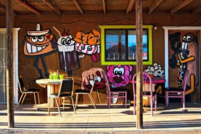 Wildwest hot dog eatery artistically painted