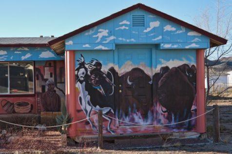 Buffalos mural on a house wall