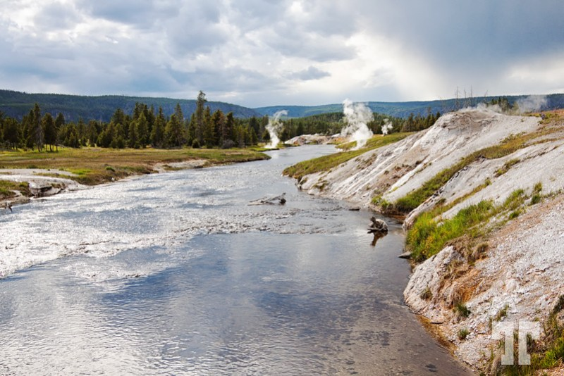 Firehole River and geysers in Yellowstone