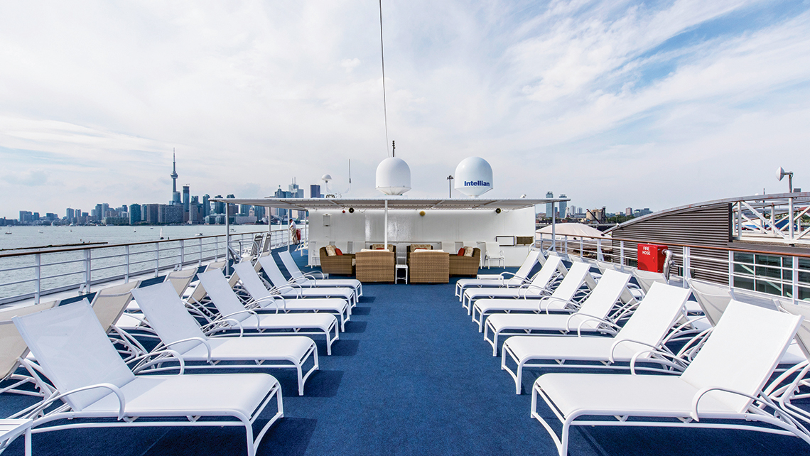 The topside sun deck on the 210-passenger Pearl Mist.