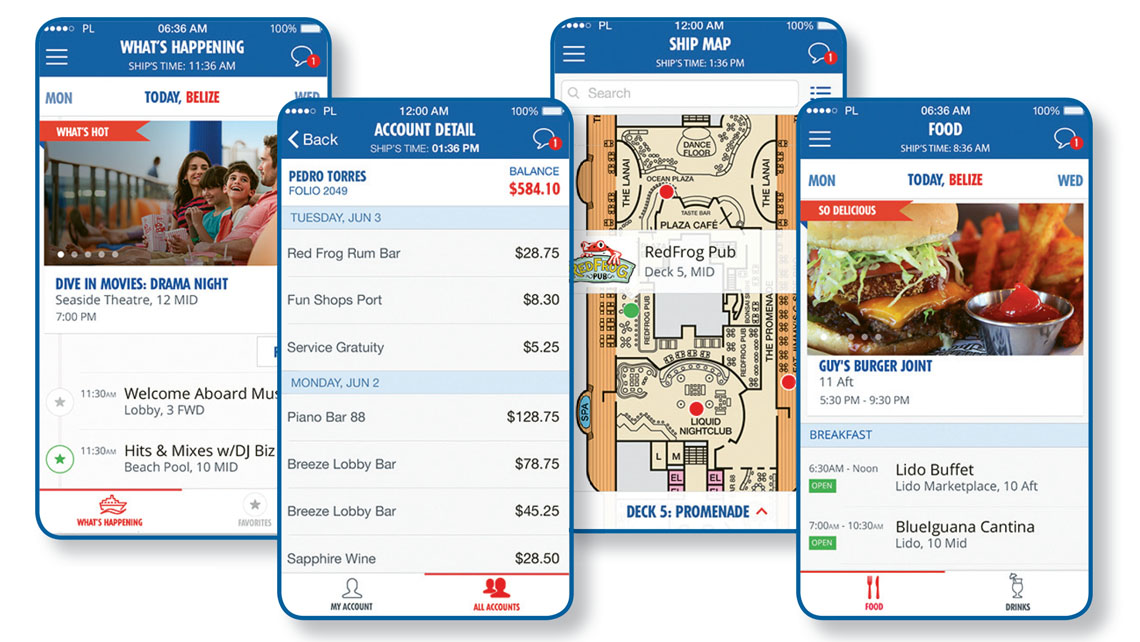 The Hub app can help Carnival Cruise Line passengers research their dining options while onboard as well as check in on any ship activities.