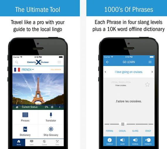 Celebrity Cruises focused its app on cruise planning rather than on listing onboard activities.