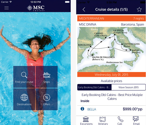 MSC Cruises' app enables its passengers to book restaurants and shore excursions through its app along with keeping track of where the ship is heading.