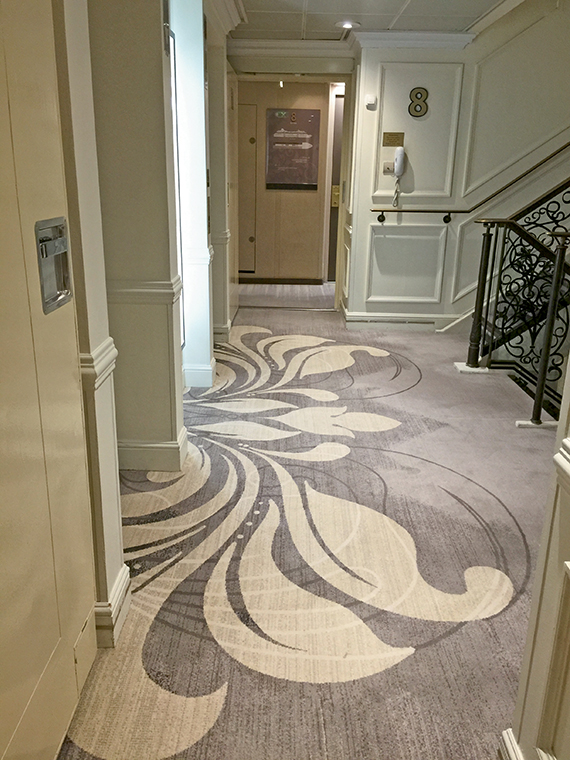 Patterned gray carpet was installed throughout the Azamara Journey during its drydock earlier this year. Photo Credit: Tom Stieghorst