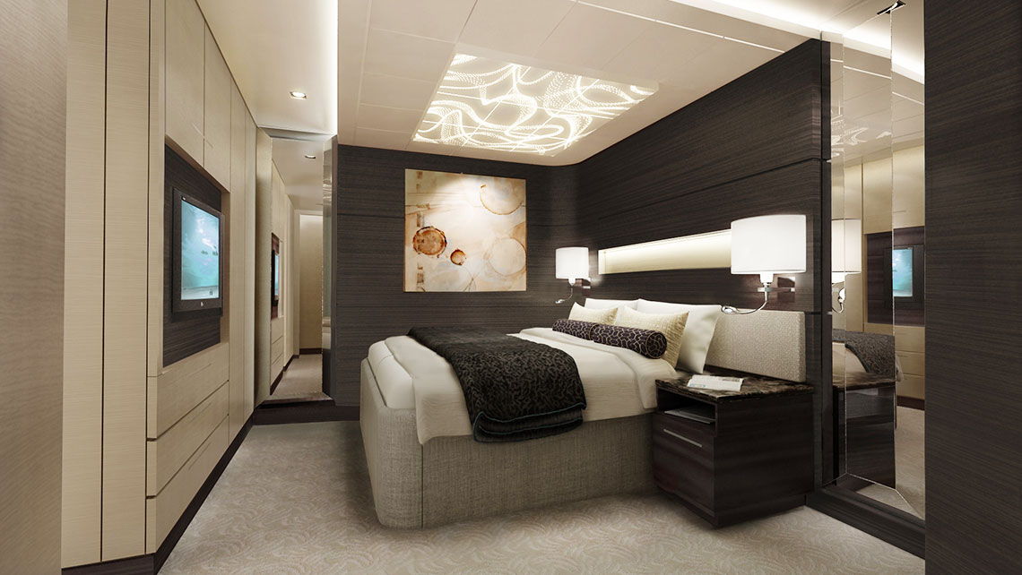 A Concierge suite bedroom.