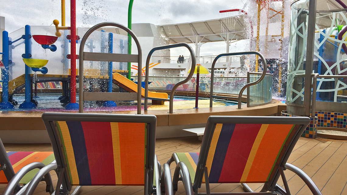 Kid-sized lounge chairs were set up next to the splash park. Photo Credit: Rebecca Tobin