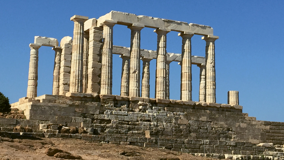 The Temple of Poseidon at Cape Sounion looks like the Parthenon but is much less crowded. Photo Credit: Felicity Long