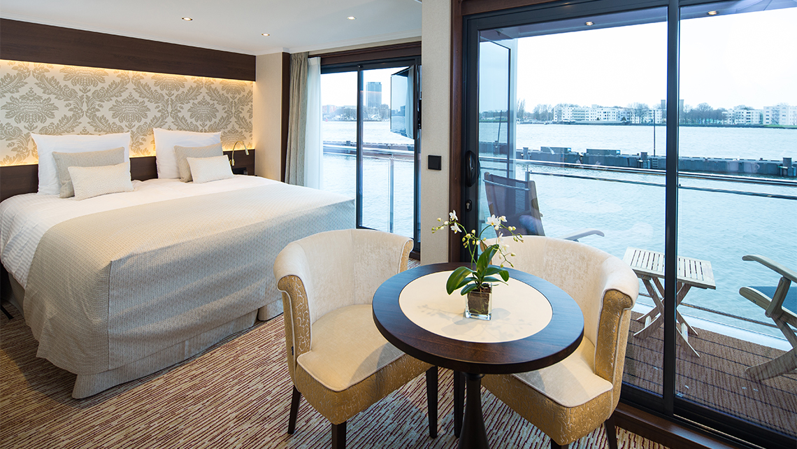 A deluxe balcony suite on Riviera Travel's Emily Bronte.