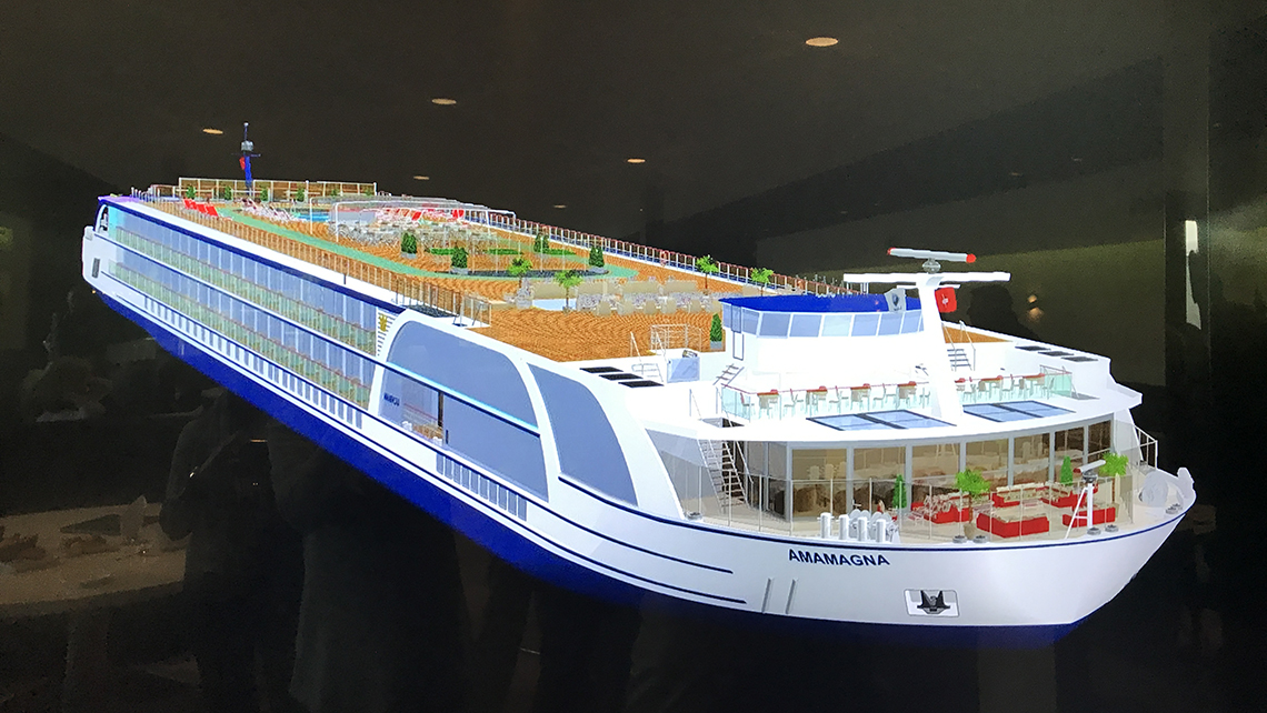 A model of the AmaMagna, a ship that will be twice as wide a current ships. Photo Credit: Jeri Clausing