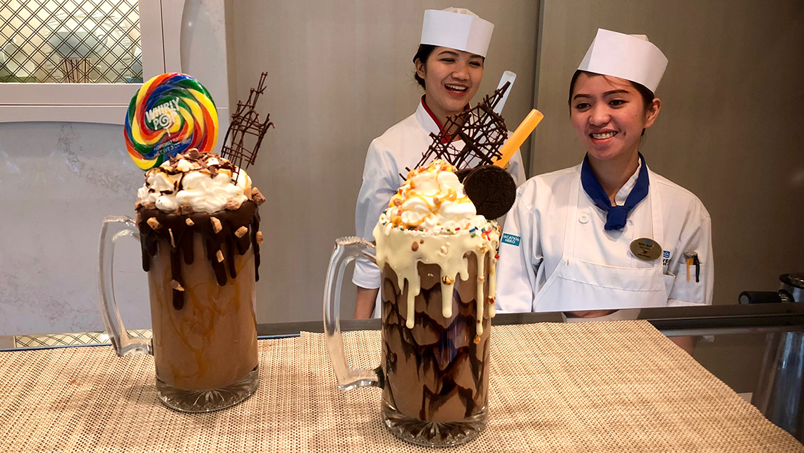 At Coco's, two Mad Milk Shakes: the Snickers Bar and Cookies 'N Cream. Photo Credit: Johanna Jainchill