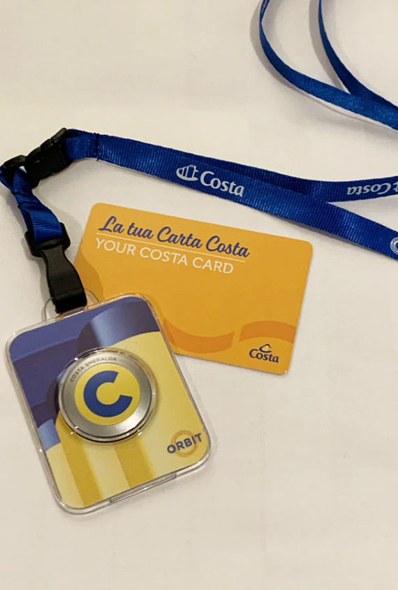 A device resembling Princess' OceanMedallion is provided to Costa passengers to assist in contact tracing.