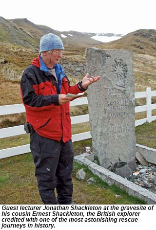 Guest lecturer Jonathan Shackleton at the gravesite of his cousin Ernest Shackleton.