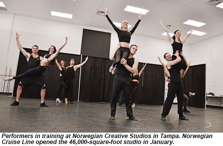 Performers in training at Norwegian Creative Studios in Tampa.